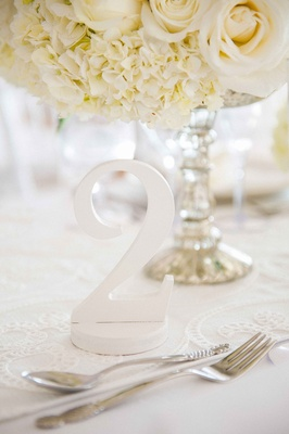 Number two wedding reception table number, white hydrangeas, roses