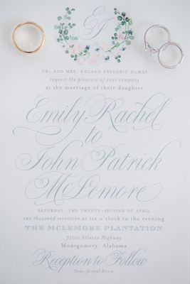 garden party wedding invitation with teal lettering