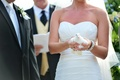 Ruched wedding dress bodice and sparkling jewelry