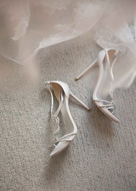 Strappy sandals heels wedding shoes Rene Caovilla with Vera Wang lace wedding dress