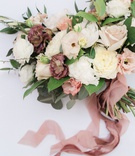 bridal bouquet loose flowers organic dusty rose ribbon white ivory cream lavender blue thistle