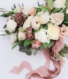 bridal bouquet loose flowers organic dusty rose ribbon white ivory cream lavender blue thistle