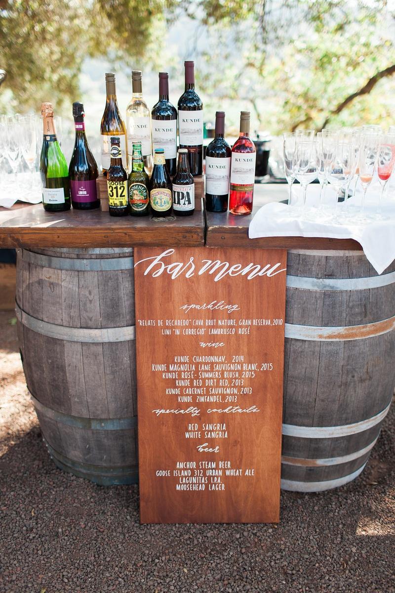 rustic wooden bar menu barrels wine whiskey northern california winery wedding custom