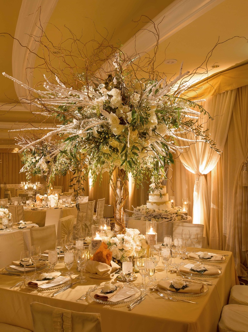 Reception dcor photos tall winter wedding flower arrangement winter wedding reception table with high centerpiece of branches and white flowers junglespirit Choice Image