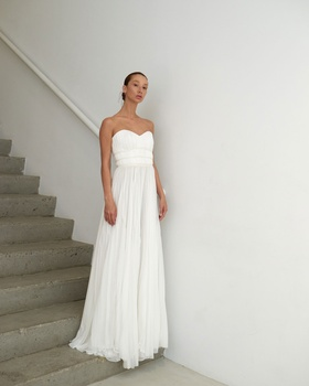 Francesca Miranda Spring 2019 collection strapless chiffon gown with ribbons and sweetheart neckline