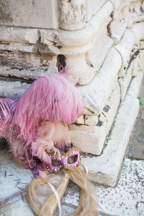 Destination wedding elopement in Venice, Italy pink feather pink gold carnival mask venetian mask
