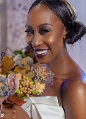 dark lips eye makeup bridal beauty look wedding day darker skin fall styled shoot bouquet bun hair