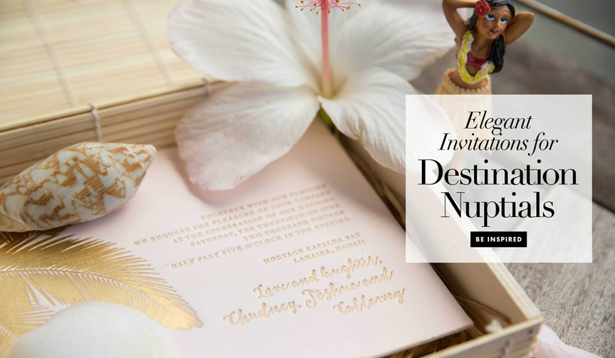 """Gather 14 ideas for your invitation suite if you'll be saying """"I do"""" away from home!"""