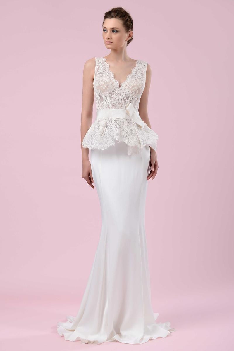 fedb6729161 Gemy Maalouf 2016 form fitting wedding dress with lace peplum bodice and  bow belt
