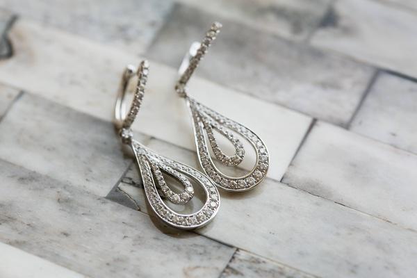Diamond earring set worn by Amena Jefferson Mebane