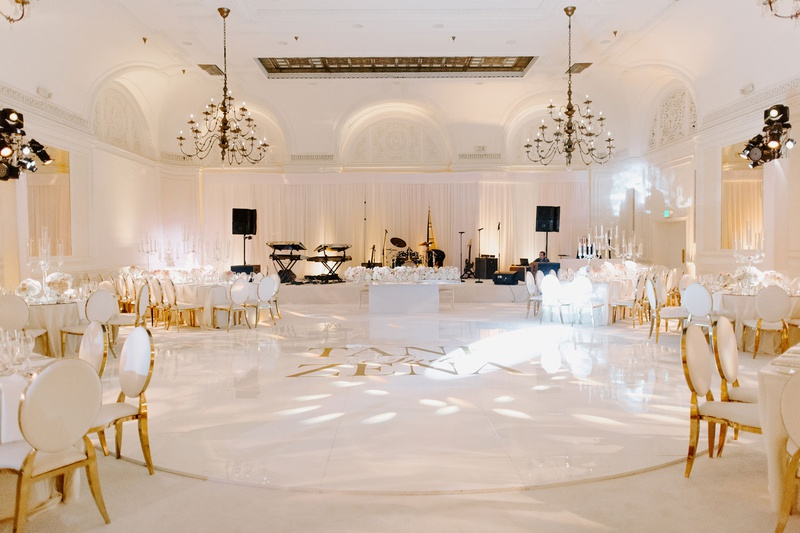 tank & zena foster, ballroom wedding reception, white and gold wedding colors