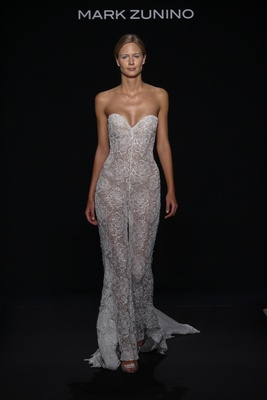 Mark Zunino for Kleinfeld 2016 nude strapless lace bridal jumpsuit