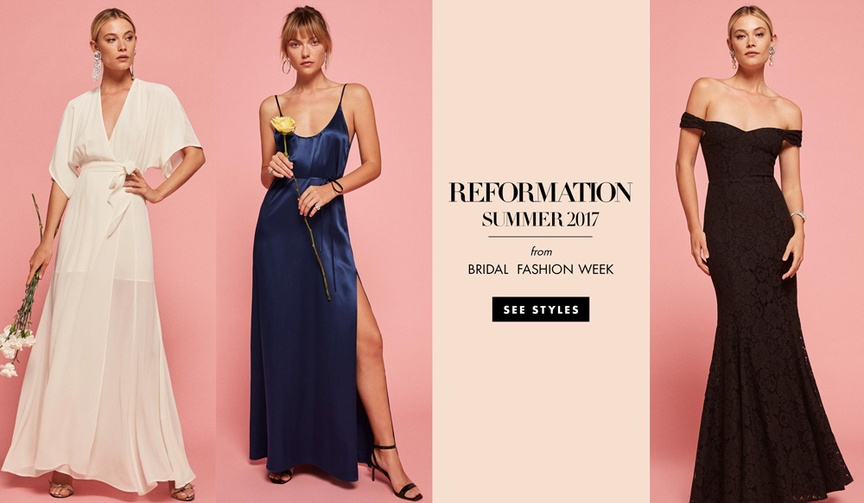 reformation wedding collection bridal gowns and bridesmaid dresses