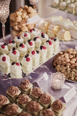 Wedding reception dessert table persian pastries for dessert on table with signage