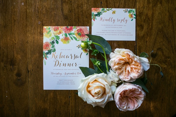 Rehearsal dinner invitations with real flowers and flower print on invitation