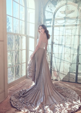 Sareh Nouri Spring 2019 collection taupe taffeta high low gown with pleats and cathedral train
