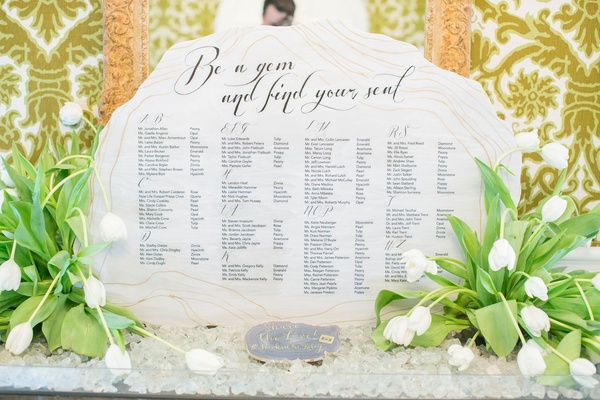Be a gem and find your seat seating chart tulips rock theme wedding agate slice wedding hashtag