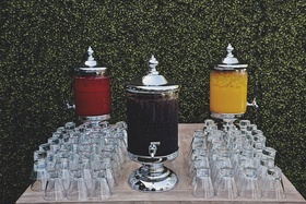 Silver glass canisters with spouts and glass cups