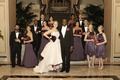 Bride in an Amsale high-low gown, groom in black tuxedo, and bridesmaids in dark purple dresses