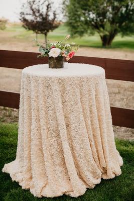 wedding reception texture rosette linen cocktail table flower centerpiece white peony pink flowers