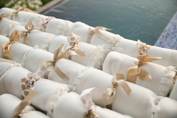 fleece blankets to give guests as it got cold during the reception