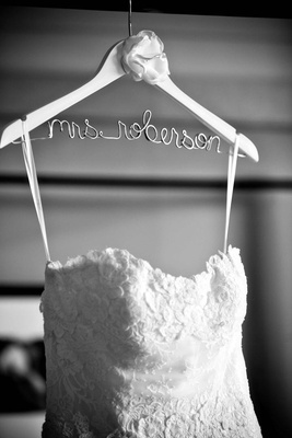 Black and white photo of personalized wire hanger