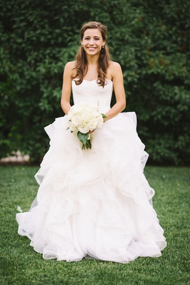 Vera Wang Ball Gown With Ruffles And Strapless Neckline