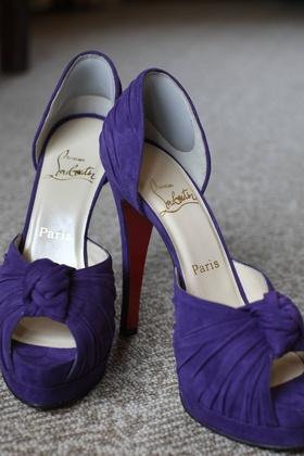 Bride's purple Louboutin heels