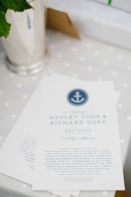 Wedding ceremony card with blue nautical anchor motif