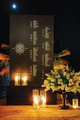 wedding reception seating chart eight tables evil eye destination wedding in greece