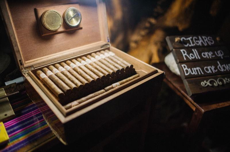 Wedding reception favors cigars at mexico wedding nayarit roll one up burn one down