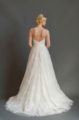 Sabrina Dahan 2016 back of illusion long sleeve wedding dress with beading and flower appliques