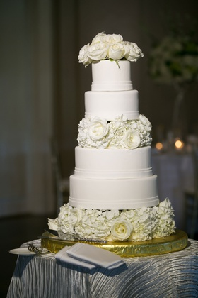 Wedding cake white fondant with ivory rose and hydrangea flowers cake topper and layer