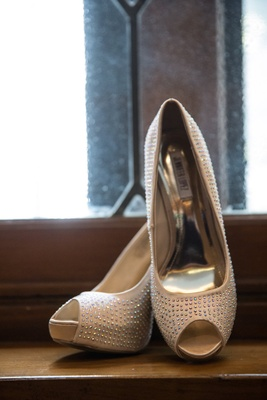 Jennifer Lopez peep-toe pumps with crystals