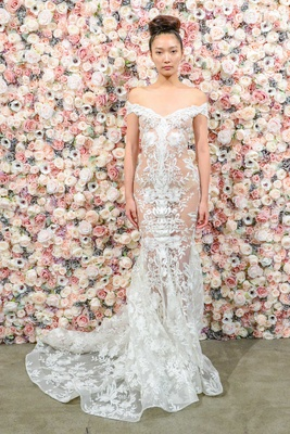 Michael Costello spring summer 2018 bridal couture collection off shoulder sheer gown embroidery