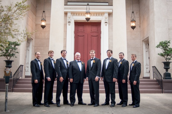 Groomsmen in front of Trinity United Methodist Church