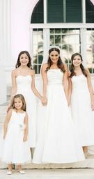 White flower girl dress, white junior bridesmaid dresses, white a line reem acra wedding dress