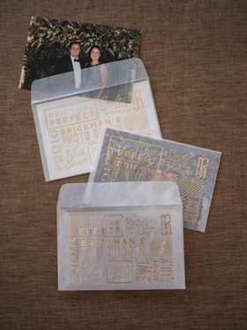 Wedding reception favors photo booth photobooth sheer sleeves gold foil lettering with guest picture