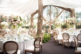 calamigoa ranch reception in malibu, tented reception with tree growing through the center