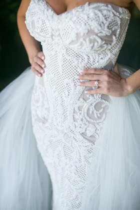 leah da gloria fitted lace embroidered gown with a tulle overskirt