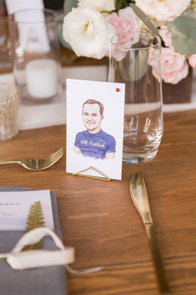 Wedding reception personalized wedding idea drawing caricature of each guest instead of place cards