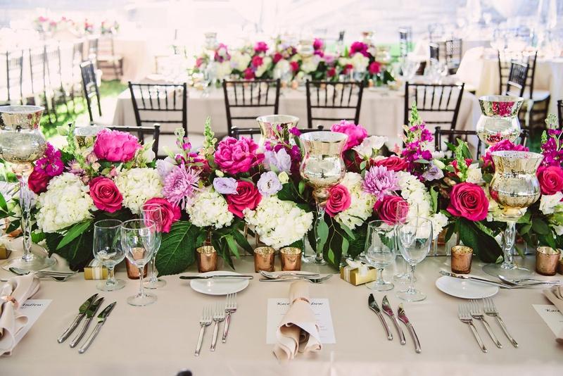 Wedding reception tent beige linen rose gold candle votive flower runner pink peony rose white