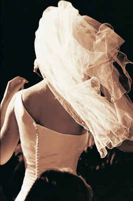 Veil blows in wind to reveal back of dress