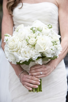 white bridal bouquet with roses and other blossoms