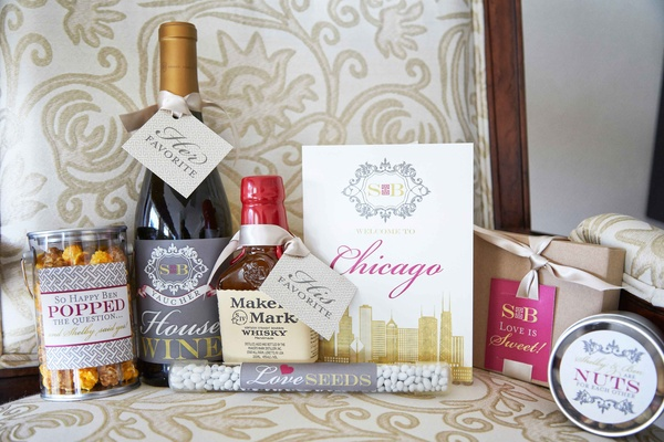 Wedding welcome present from couple to wedding guests wine whiskey nuts popcorn and more