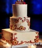 Hindu ceremony fabric design on three layer cake