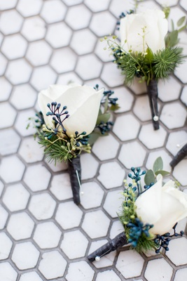 Wedding boutonniere ideas white rose with greenery and blue verdure