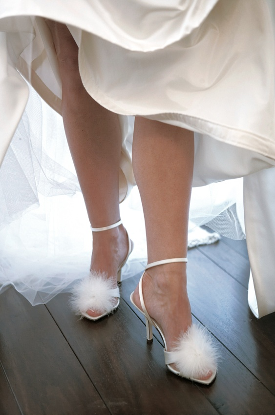 Kate Spade bridal sandals with white feathers