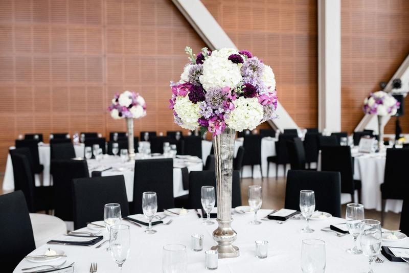 Reception Dcor Photos Black Chairs Purple Centerpiece Inside