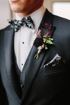 dark moody florals, black, white, and grey flower bow tie, dark flower boutonniere jasmine